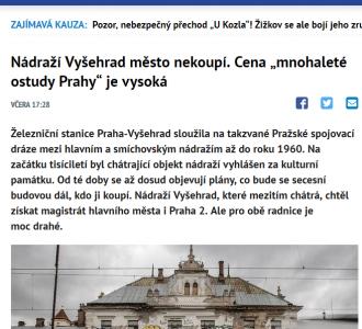 """Denik.cz: Nádraží Vyšehrad město nekoupí. Cena """"mnohaleté ostudy Prahy"""" je vysoká"""