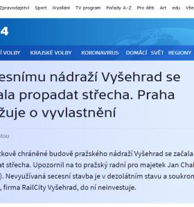 Česká televize: Secesnímu nádraží Vyšehrad se začala propadat střecha. Praha uvažuje o vyvlastnění