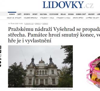 Lidovky.cz: Pražskému nádraží Vyšehrad se propadá střecha. Památce hrozí smutný konec, ve hře je i vyvlastnění