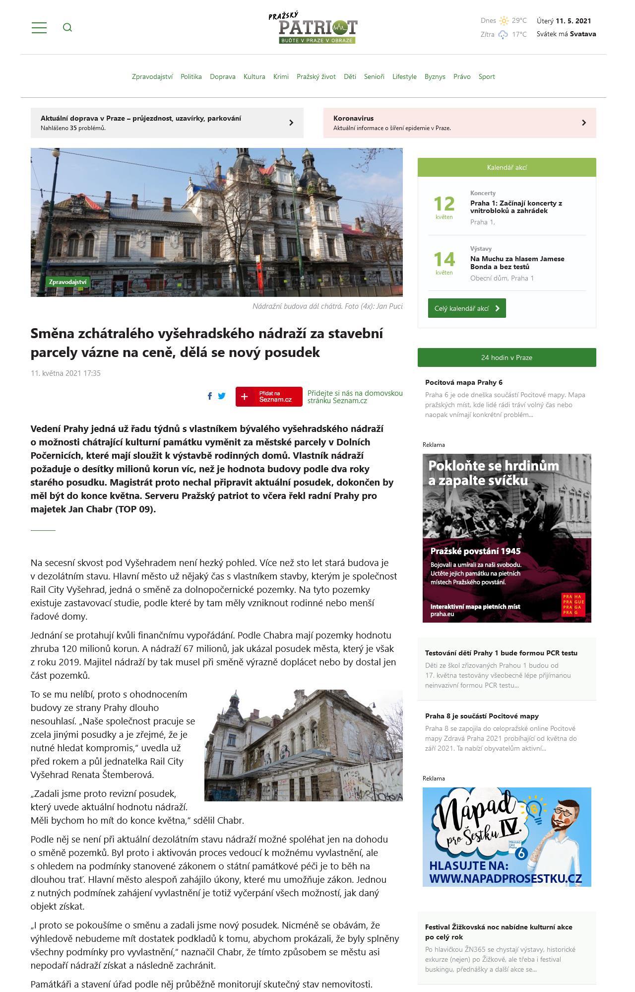 PrazskyPatriot.cz: Směna zchátralého vyšehradského nádraží za stavební parcely vázne na ceně, dělá se nový posudek