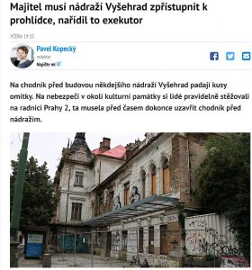 Deník: Majitel musí nádraží Vyšehrad zpřístupnit kprohlídce, nařídil to exekutor